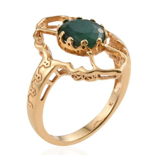 Kimberley Crimson Spice Collection Indian Emerald (Ovl) Ring in 14K Gold Overlay Sterling Silver 3.000 Ct.
