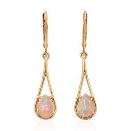 Ethiopian Welo Opal (Pear) Lever Back Drop Earrings in 14K Gold Overlay Sterling Silver 1.500 Ct.