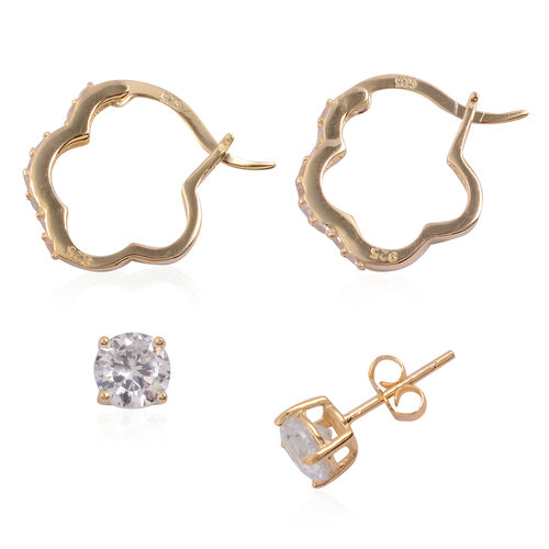 Close Out Deal Set of 2 - ELANZA AAA Simulated Diamond (Rnd) Hoop and Stud Earrings (with Push Back) in Yellow Gold Overlay Sterling Silver