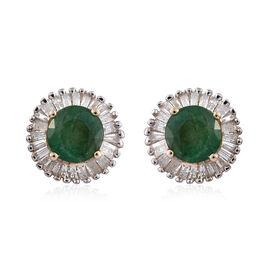 9K Y Gold AA Kagem Zambian Emerald (Rnd), Diamond Stud Earrings (with Push Back) 1.250 Ct.