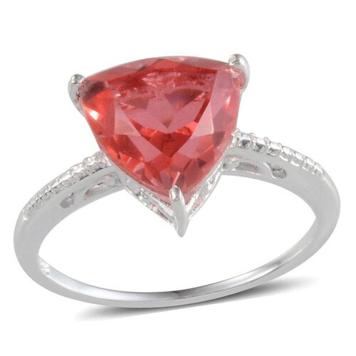 Padparadscha Quartz (Trl) Solitaire Ring in Sterling Silver 3.750 Ct.