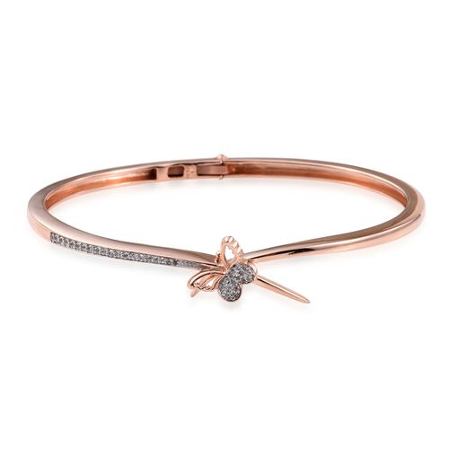 Kimberley Butterfly Collection Natural Cambodian Zircon (Rnd) Bangle (Size 7.5) in Rose Gold Overlay Sterling Silver