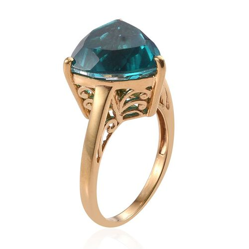 Capri Blue Quartz (Trl) Ring in 14K Gold Overlay Sterling Silver 11.500 Ct.