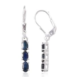 Black Sapphire (Ovl) Lever Back Earrings in Sterling Silver 1.500 Ct.