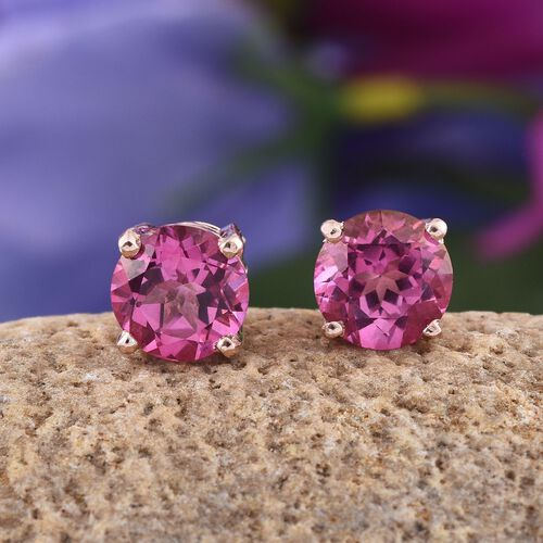 Mystic Pink Coated Topaz (Rnd) Stud Earrings (with Push Back) in Rose Gold Overlay Sterling Silver 4.500 Ct.
