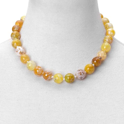 Yellow Agate Beads Necklace (Size 18) with Magnetic Clasp and Stretchable Bracelet (Size 7) in Silver Tone 765.000 Ct.
