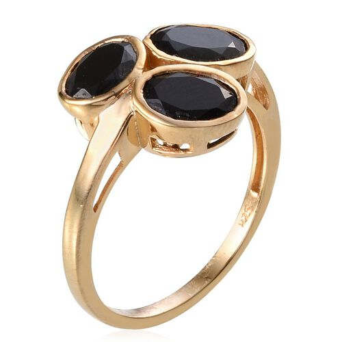 Boi Ploi Black Spinel (Ovl) Trilogy Ring in 14K Gold Overlay Sterling Silver 4.750 Ct.