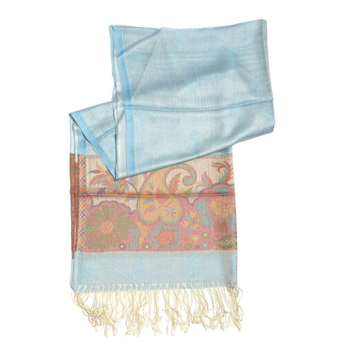 100% Superfine Modal Blue and Multi Colour Paisley Pattern Jacquard Scarf (Size 190x70 Cm)