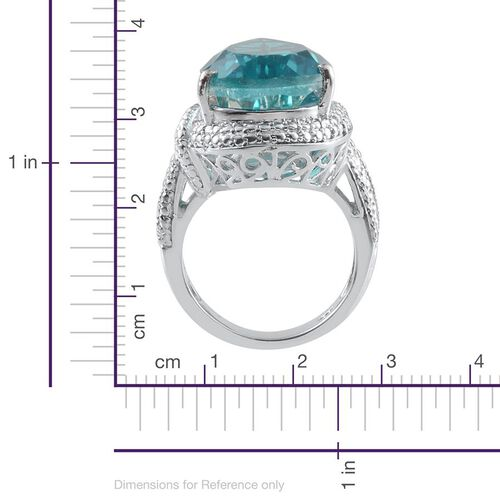 Capri Blue Quartz (Pear 12.75 Ct), Diamond Ring in Platinum Overlay Sterling Silver 12.760 Ct.