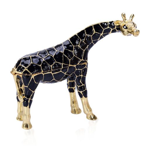 Hand Enamelled Black and Gold Colour Giraffe Trinket Box