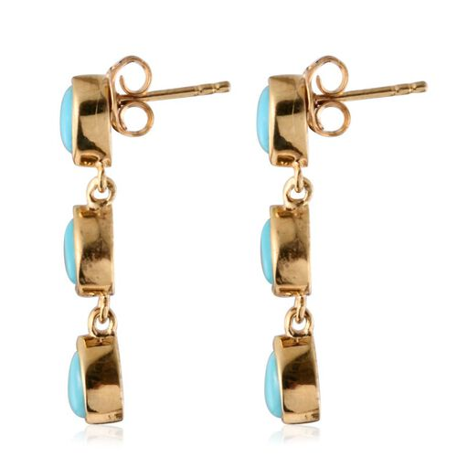 Sonoran Turquoise (Pear) Earrings (with Push Back) in 14K Gold Overlay Sterling Silver 2.400 Ct.