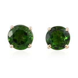 9K Y Gold Russian Diopside (Rnd) Stud Earrings (with Push Back) 1.250 Ct.