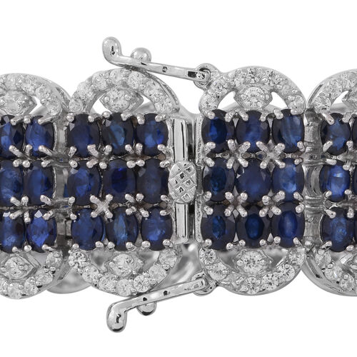 Limited Available-AA Kanchnaburi Blue Sapphire (Ovl), Natural Cambodian White Zircon Cocktail Bracelet (Size 7.25) in Rhodium Plated Sterling Silver 45.000 Ct.Silver Wt 38.00 Gms.