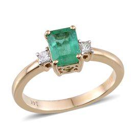 14K Y Gold Boyaca Colombian Emerald (Oct 1.10 Ct), Diamond Ring 1.250 Ct.