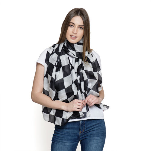 100% Mulberry Silk Black, White and Grey Colour Square Pattern Pareo (Size 180x100 Cm)