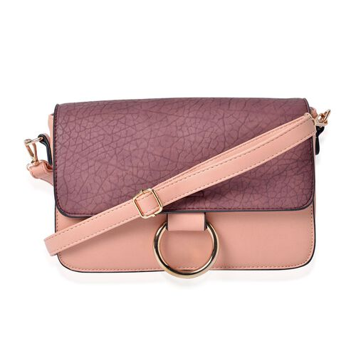 Stella Wine and Pink Colour Crossbody Bag with Adjustable and Removable Shoulder Strap (Size 27.5x18x8 Cm)