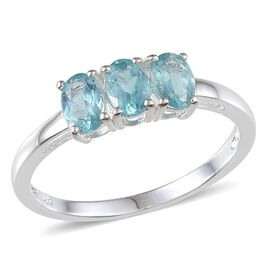 Paraibe Apatite (Ovl) Trilogy Ring in Sterling Silver 1.500 Ct.