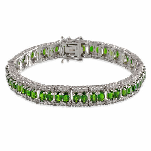 Russian Diopside (Ovl), White Topaz Bracelet in Platinum Overlay Sterling Silver (Size 7.5) 16.000 Ct.