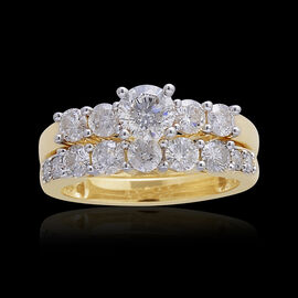 14K Y Gold IGI Certified Diamond (Rnd 0.50 Ct) (I2/ G-H) 2 Ring Set 1.500 Ct.