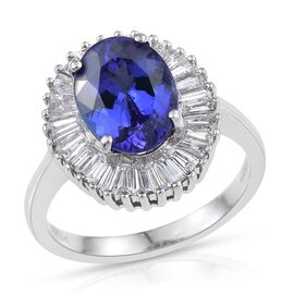 RHAPSODY 950 Platinum AAAA Tanzanite (Ovl 3.95 Ct), Diamond Ring 5.000 Ct.
