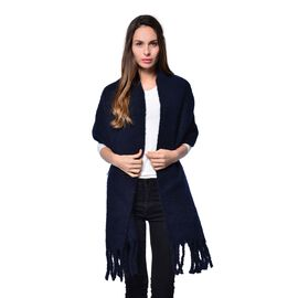 Navy Colour Scarf with Tassels (Size 200x47 Cm)