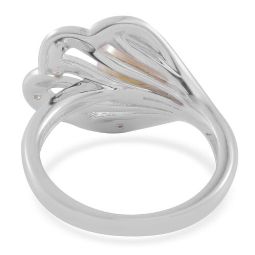 Japanese Akoya Pearl (Rnd 2.75 Ct), White Topaz Ring in Platinum Overlay Sterling Silver 2.800 Ct.