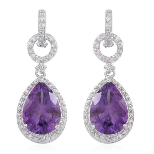 Amethyst (Pear), White Zircon Earrings (with Hoop) in Rhodium Plated Sterling Silver 10.000 Ct.