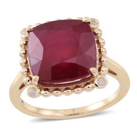 9K Y Gold AAA African Ruby (Cush), Diamond (I3/G-H) Ring 12.000 Ct..