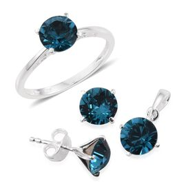 J Francis Crystal from Swarovski - Indicolite Colour Crystal (Rnd) Solitaire Ring, Pendant and Stud Earrings (with Push Back) in Sterling Silver