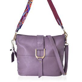 Designer Inspired 100% Genuine Leather Purple Colour Middle Size Shoulder Bag With Adjustable and Removable Shoulder Strap (Size 29x26x23x12 Cm)