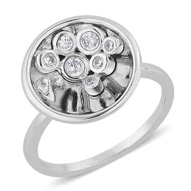 AAA Simulated White Diamond Ring in Rhodium Plated Sterling Silver
