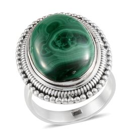 Malachite (Ovl) Solitaire Ring in Sterling Silver 11.420 Ct.