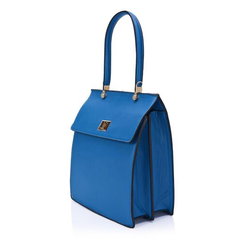 Turquoise and Black Colour Messanger Bag with Flip Top Cover and External Zipper Pocket (Size 30x26x12 Cm)