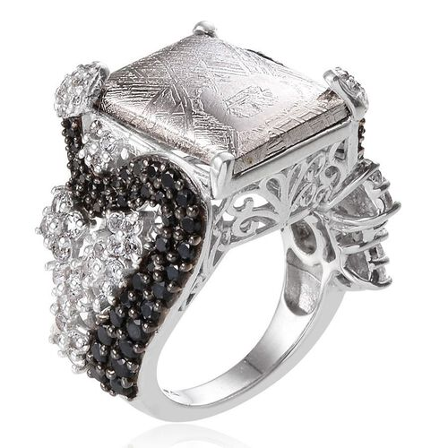 Meteorite (Bgt 17.00 Ct), Boi Ploi Black Spinel and White Topaz Ring in Platinum Overlay Sterling Silver 20.250 Ct.