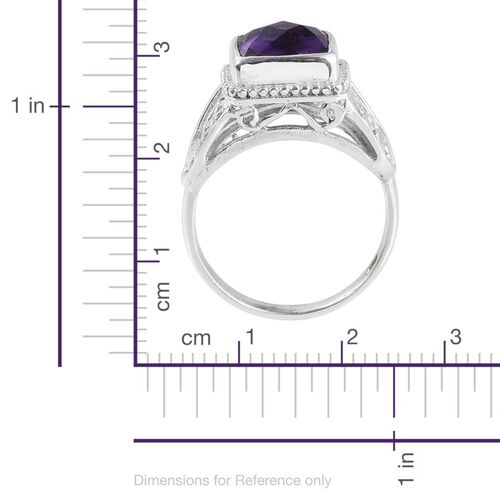 Amethyst (Cush) Solitaire Ring in Sterling Silver 3.390 Ct.