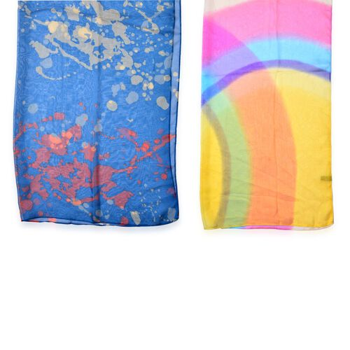 Set of 2 - Designer Inspired Multi and Royal Blue Colour Scarf (Size 175x70 Cm)