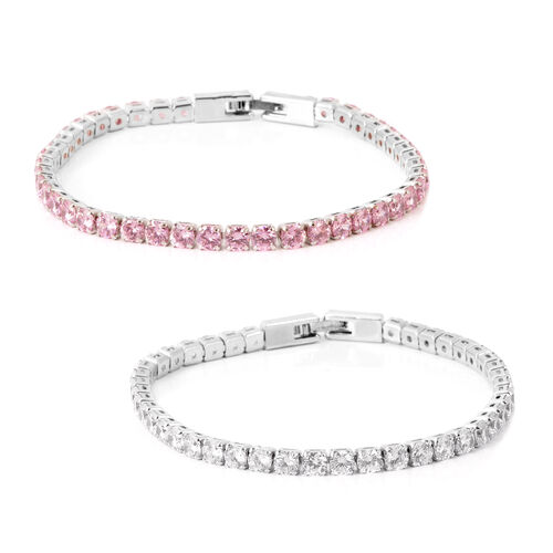 Set of 2 - AAA Simulated Pink Sapphire (Rnd), Simulated Diamond Tennis Bracelet (Size 7.5) in Silver Tone