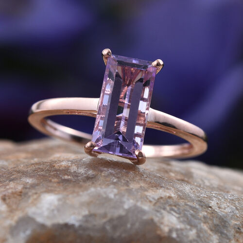 Rose De France Amethyst (Bgt) Solitaire Ring in Rose Gold Overlay Sterling Silver 2.500 Ct.