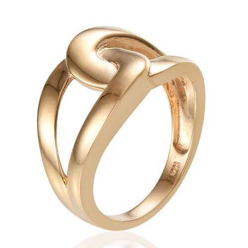14K Gold Overlay Sterling Silver Interlocking Ring, Silver wt 4.29 Gms.