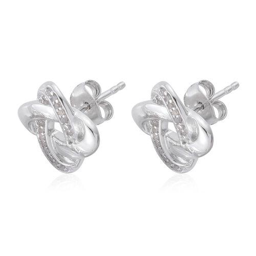 0.15 Carat Diamond Knot Stud Earrings in Platinum Overlay Sterling Silver