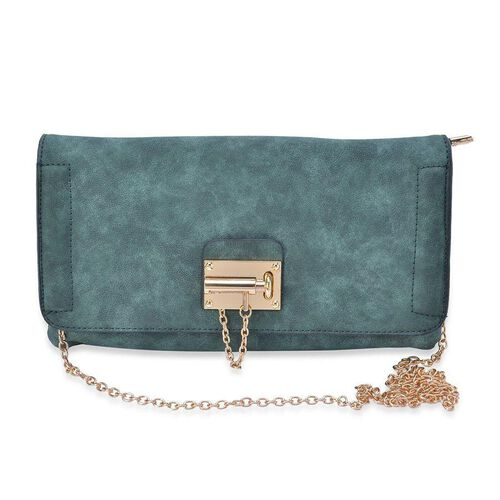 Green Colour Crossbody Bag with Chain Strap (Size 29x16 Cm)