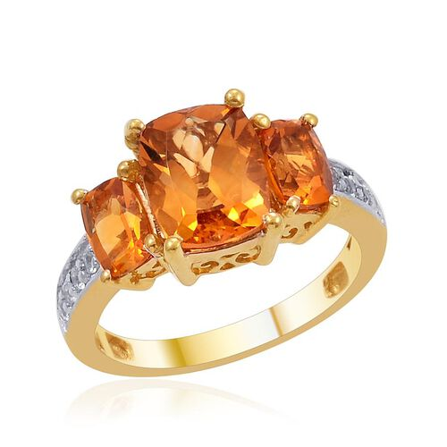 Madeira Citrine (Cush 1.90 Ct), White Topaz Ring in 14K Gold Overlay Sterling Silver 2.900 Ct.