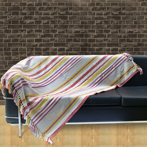 100% Cotton Purple, Grey, Yellow and Multi Colour Stripe Pattern Plaid with Fringes at the Bottom (Size 160x120 Cm)