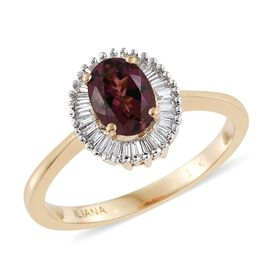 ILIANA 18K Yellow Gold 1 Carat AAA Pink Tourmaline Halo Ring With Diamond SI-GH