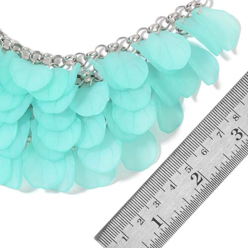 Green Colour Flower Petals Necklace (Size 20 with 3 inch Extender) in Silver Tone