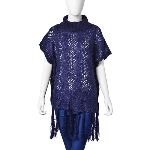 Navy Colour Wavy Pattern High Neck Design Knitted Poncho with Tassels (Size 70X60 Cm)