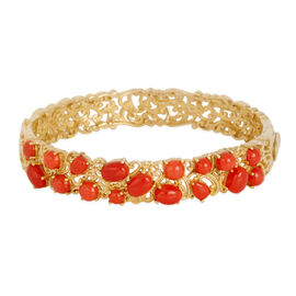 Natural Mediterranean Coral (Ovl) Bangle (Size 7) in 14K Gold Overlay Sterling Silver 7.000 Ct.