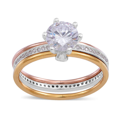 ELANZA AAA Simulated White Diamond (Rnd) Ring in Rose Gold and Platinum Overlay Sterling Silver