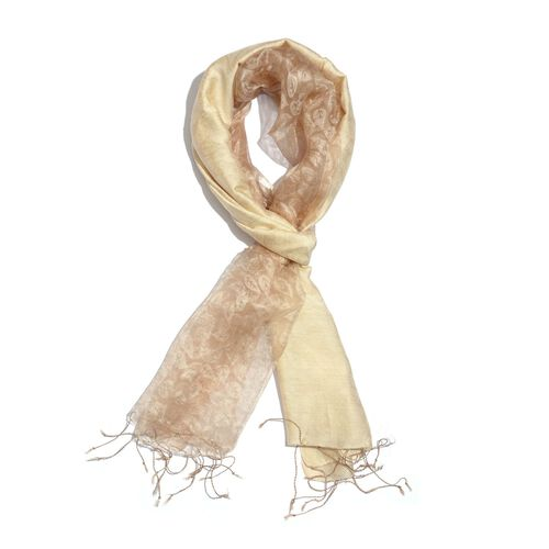 100% Mulberry Silk Golden and Beige Colour Leaves Pattern Scarf (Size 180x50 Cm)