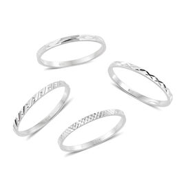 Set of 4 - Sterling Silver Band Ring, Silver wt 3.74 Gms.